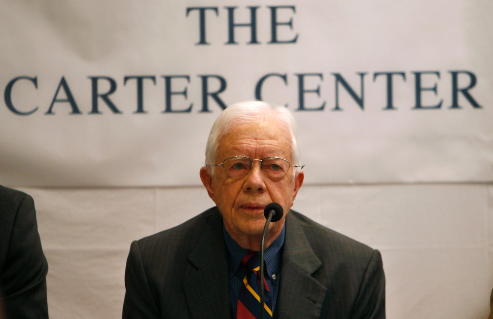 . Former U.S. President Jimmy Carter addresses a press conference, in Katmandu, Monday, April 1, 2013. Carter said that his Carter Center will observe the elections for Constituent Assembly in Nepal planned for later this year. (AP Photo/Niranjan Shrestha)