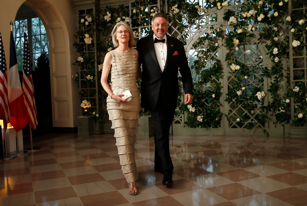 . Dr. Mary Morton and Keith Forman arrive for a State Dinner with French President Emmanuel Macron and President Donald Trump at the White House, Tuesday, April 24, 2018, in Washington. (AP Photo/Alex Brandon)