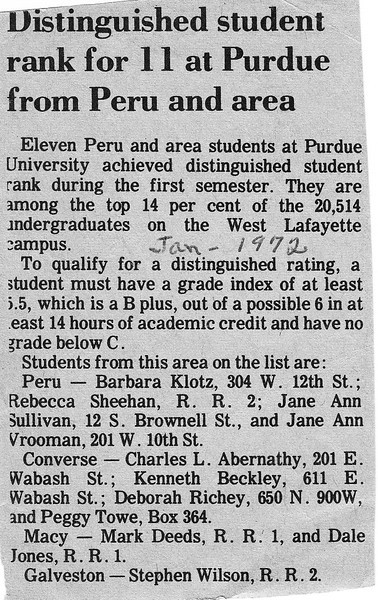 Newspaper Clipping - Distinguished Students - Jane Sullivan - January 1972.jpg