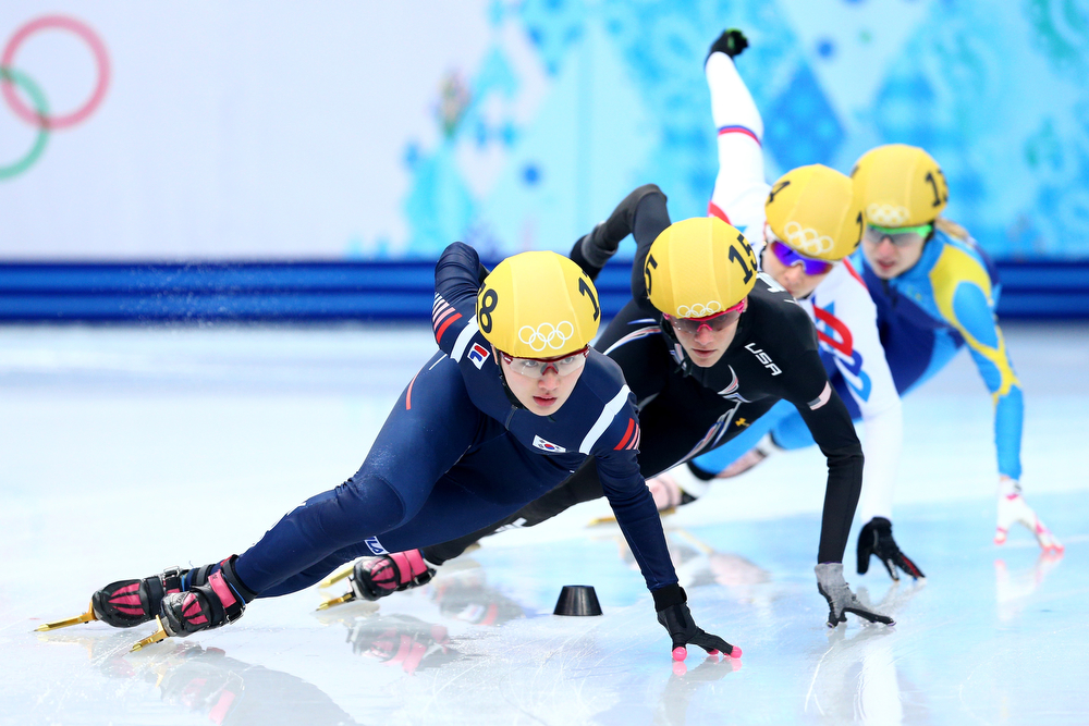 . Seung-Hi Park of Korea leads the pack in the Short Track Ladies\' 1000m Heat at Iceberg Skating Palace on day 11 of the 2014 Sochi Winter Olympics on February 18, 2014 in Sochi, Russia.  (Photo by Paul Gilham/Getty Images)