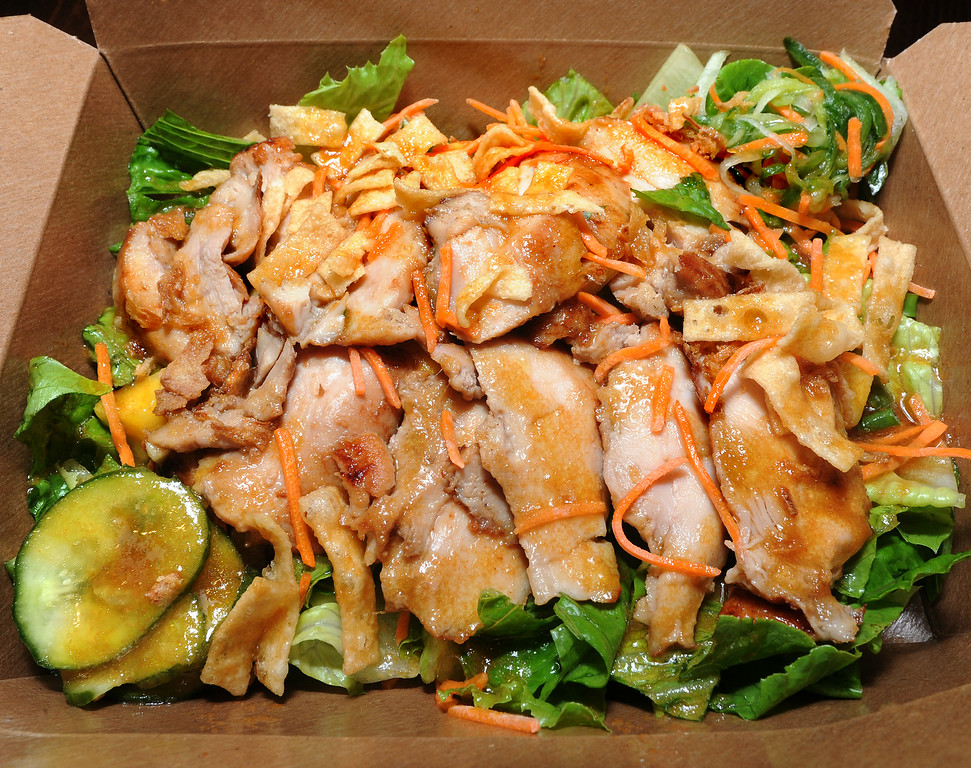 . Chinese Chicken Salad at  Panda Express, located at 3867 East Foothill Boulevard in Pasadena Thursday, August 21, 2014.  This unique restaurant is the  location of the chain\'s Innovation Kitchen. Here, consumers can try test cuisine and also contribute their own ideas for new dishes. (Photo by Walt Mancini/Pasadena Star-News)
