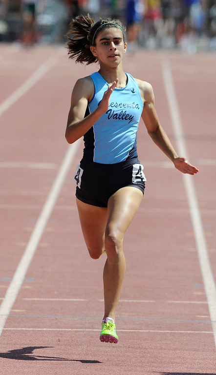 . Kayleigh Carrillo from Crescenta Valley in the 400 meter girls during the 2013 CIF Southern Section Track & Field Divisional Finals held at Mt. San Antonio College in Walnut, CA 5/18/2013(John McCoy/LA Daily News)
