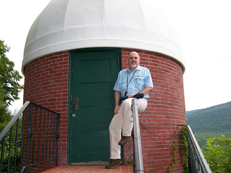 Douglas Harrigan at the dome of the 6 inch Lincoln refractor at Hildene.