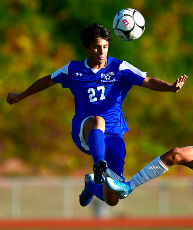 10/1/2019 Mike Orazzi | StaffrBristol Eastern's Justin Sanchez (27) during boys soccer with Maloney at BEHS Tuesday.