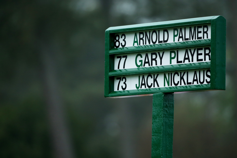 Description of . The names of Honorary starters Jack Nicklaus of the United States, Arnold Palmer of the United States and Gary Player of South are are seen in the starters board prior to the start of the first round of the 2013 Masters Tournament at Augusta National Golf Club on April 11, 2013 in Augusta, Georgia.  (Photo by Mike Ehrmann/Getty Images)