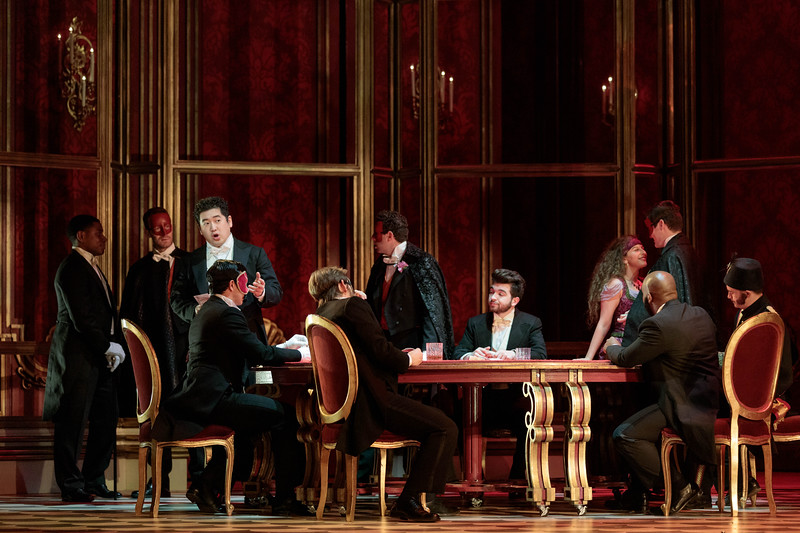"Kang Wang as Alfredo and members of the ensemble in The Glimmerglass Festival's 2019 production of ""La traviata."" Photo: Karli Cadel/The Glimmerglass Festival"