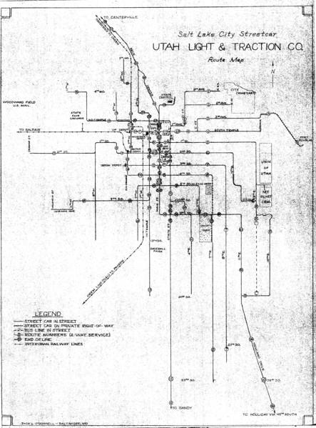 Utah Light & Traction System Map (Orange Empire Railway Museum Archives)