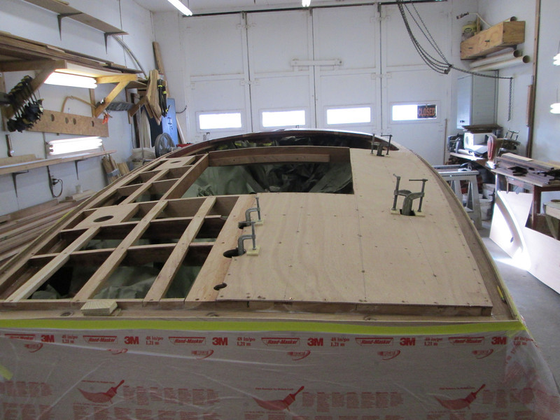 Starboard rear deck plywood installed.