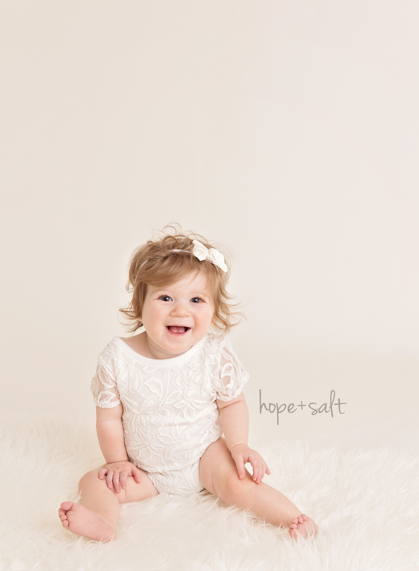 A first birthday sitter session for one year old girl Audrey Oakville Baby Photographer, neutral white, simple pure style, Hope + Salt Photography