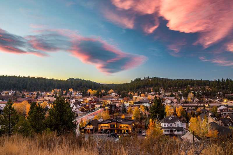 Town of Truckee Sunset in the Fall colors