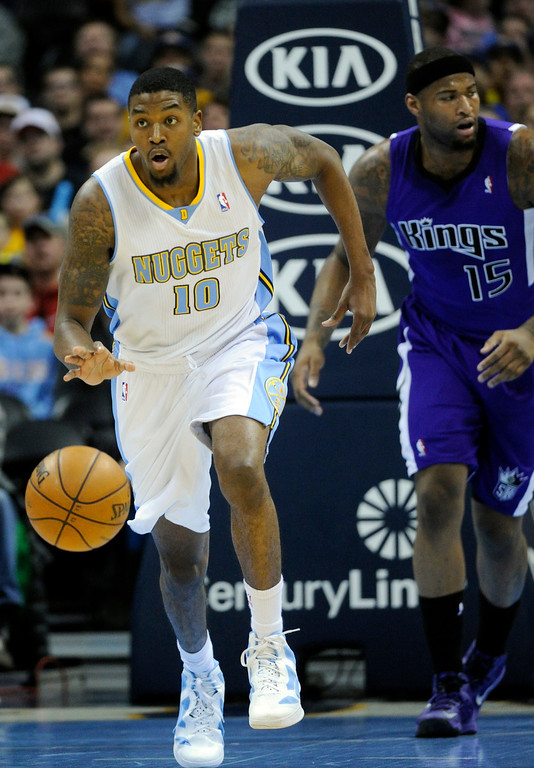 . DENVER, CO. - MARCH 22: Julyan Stone (10) of the Denver Nuggets started a break in the first half. The Denver Nuggets hosted the Sacramento Kings Saturday night, March 23, 2013 at the Pepsi Center. (Photo By Karl Gehring/The Denver Post)