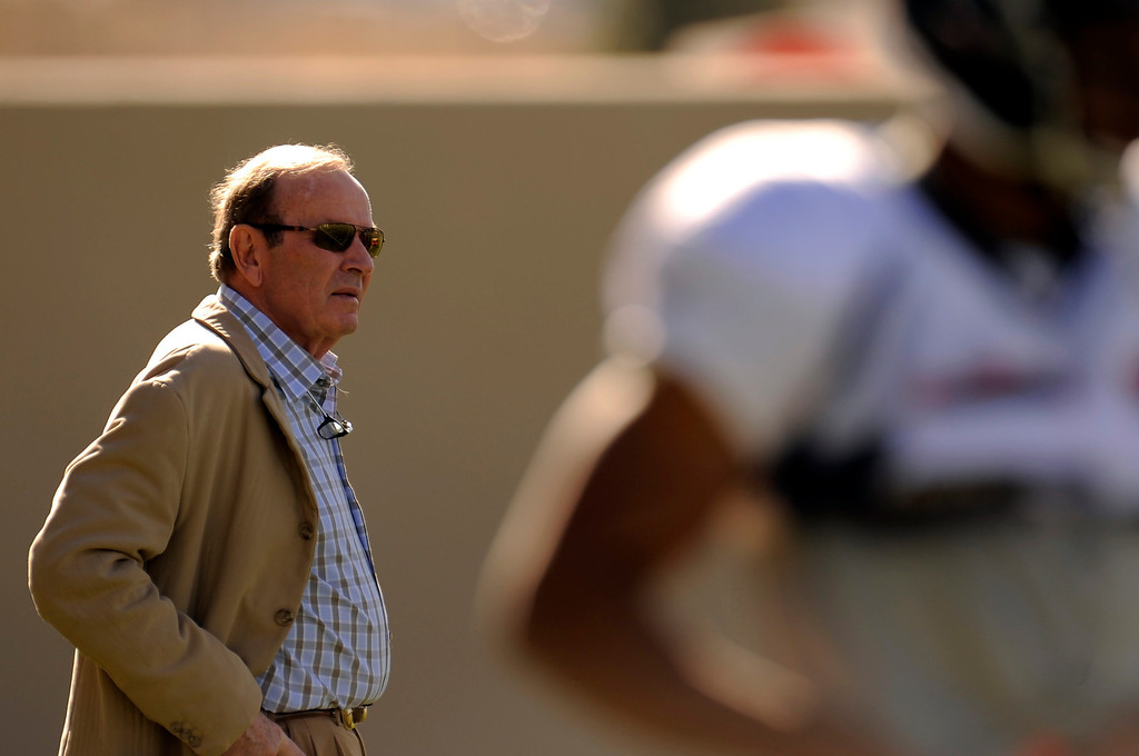 . Denver Broncos owner Pat Bowlen attends practice as he stands on the sidelines November 13, 2013 at Dove Valley (Photo by John Leyba/The Denver Post)