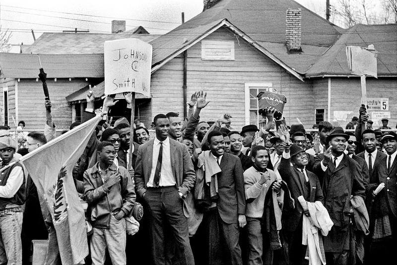 Early arrivals welcoming marchers at intermediate stop-over of march. Route 80, Jefferson Davis Highway - Selma to Montgomery, Alabama Civil Rights March; March 25, 1965
