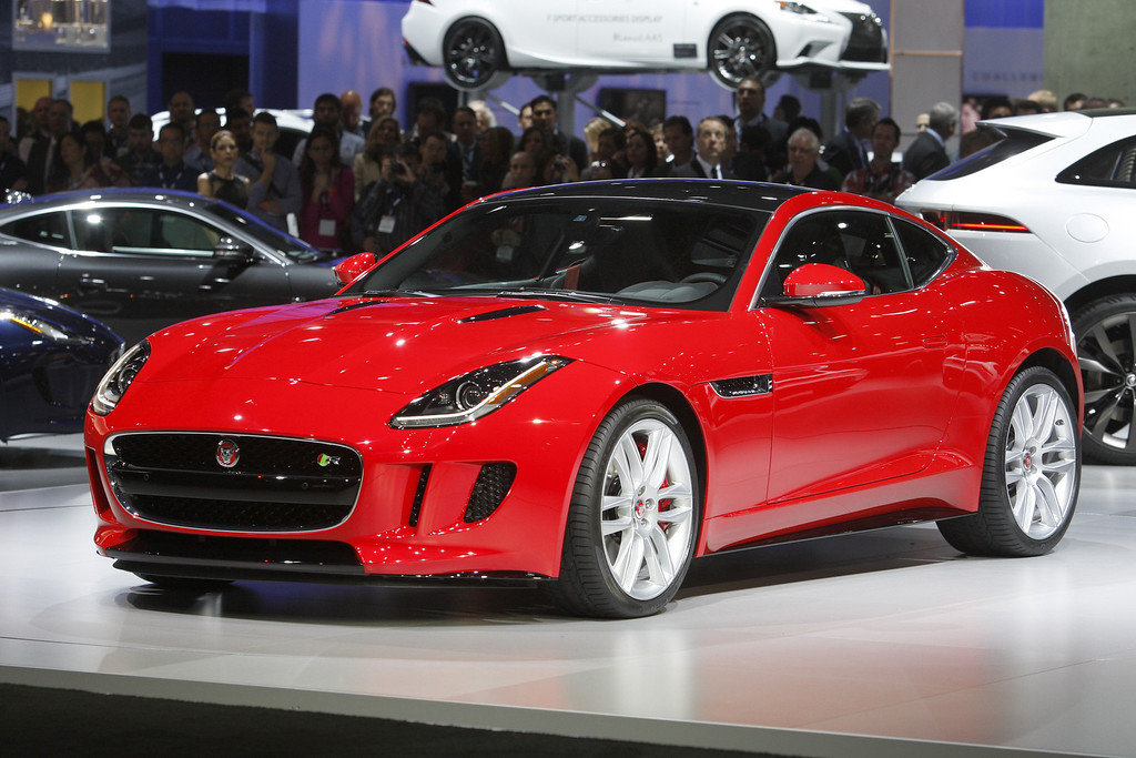 . A Jaguar F-Type is displayed during media preview days at the 2013 Los Angeles Auto Show on November 20, 2013 in Los Angeles, California. The LA Auto Show was founded in 1907 and is one of the largest with more than 20 world debuts expected. The show will be open to the public November 22 through December 1.  (Photo by David McNew/Getty Images)