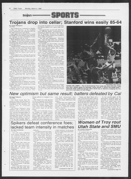 Daily Trojan, Vol. 100, No. 35, March 03, 1986