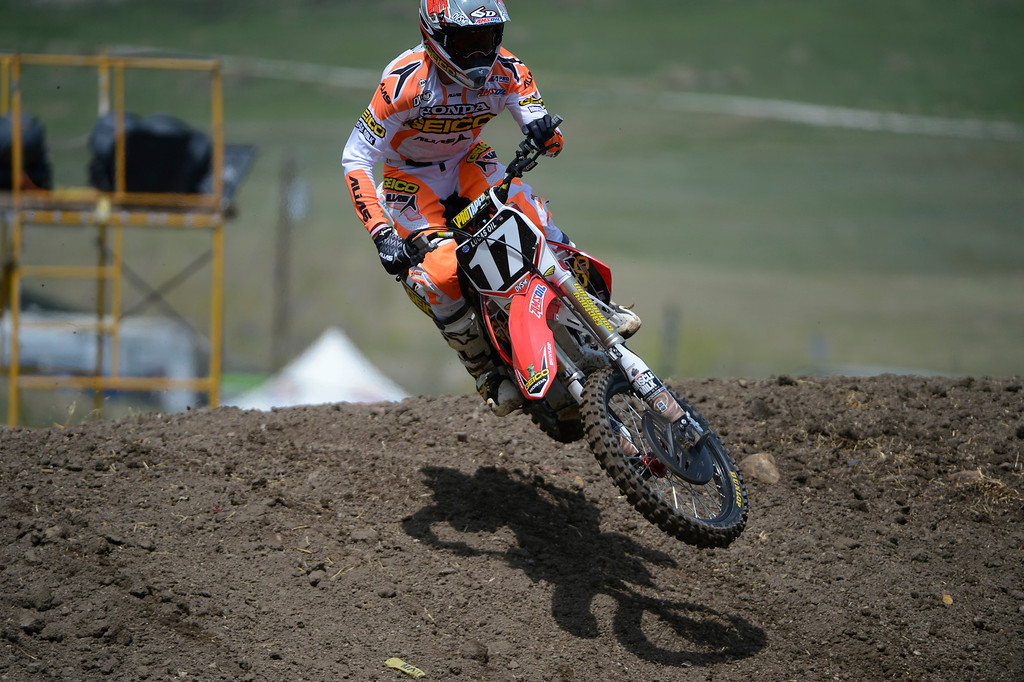 . LAKEWOOD, CO - MAY 23:  Professional motocross rider, Eli Tomac, rides during a practice session on media day at the AMA Thunder Valley National at the Thunder Valley Motocross Park in Lakewood Colorado, Thursday May 23, 2013. (Photo By Andy Cross/The Denver Post)