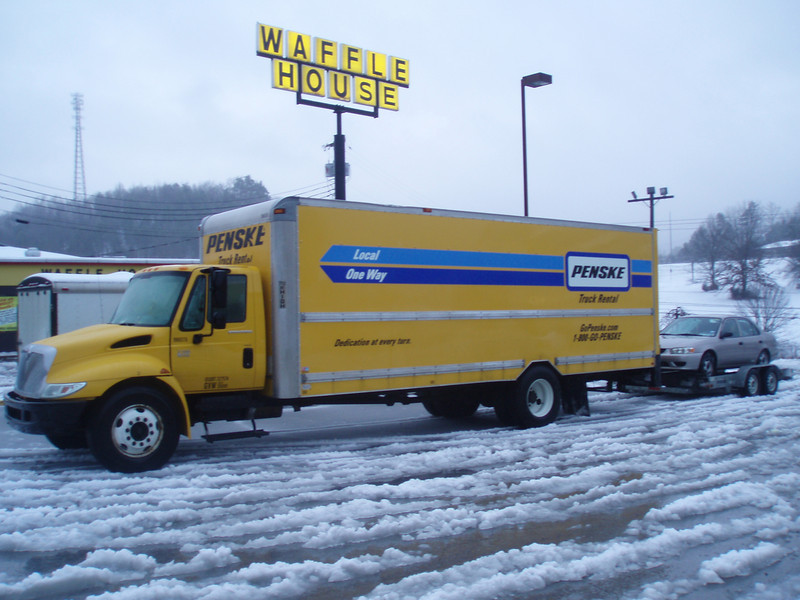 January 30, 2010: Chattanooga TN. The kids were lucky to find a room at the Knights Inn and I and my zero degree down bag enjoyed spacious accommodations of the Penske Motor Hotel just a few steps away from the Waffle House and hot coffee.