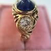1.75ctw Cab Sapphire and Old European Cut Diamond 3-stone Ring 31