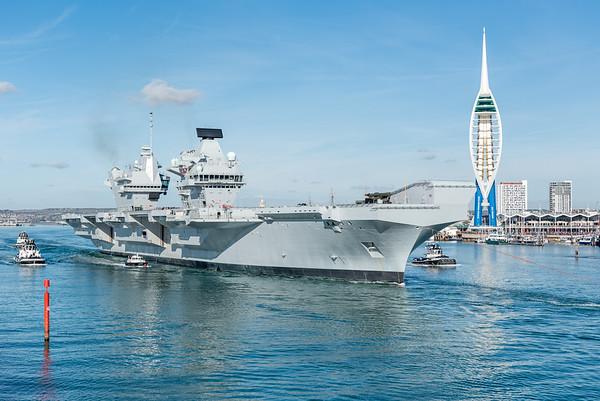 HMS QUEEN ELIZABETH departing Portsmouth