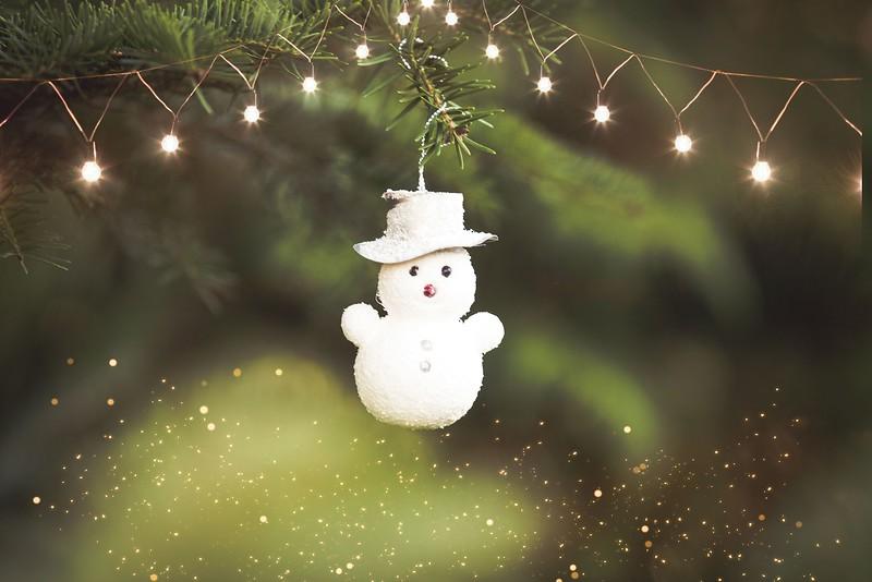 Winter holidays Christmas tree decoration and lights