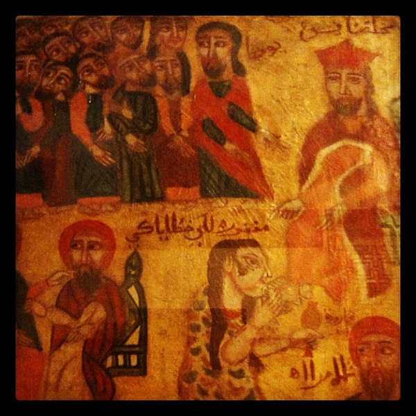 Medieval Coptic icons at Floating Church in Cairo, Egypt.