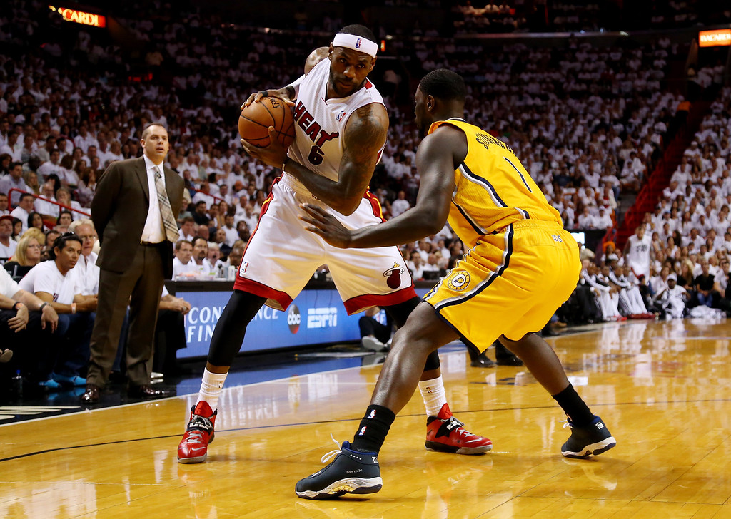 . MIAMI, FL - MAY 30: LeBron James #6 of the Miami Heat controls the ball as Lance Stephenson #1 of the Indiana Pacers defends during Game Six of the Eastern Conference Finals of the 2014 NBA Playoffs at American Airlines Arena on May 30, 2014 in Miami, Florida.  (Photo by Mike Ehrmann/Getty Images)