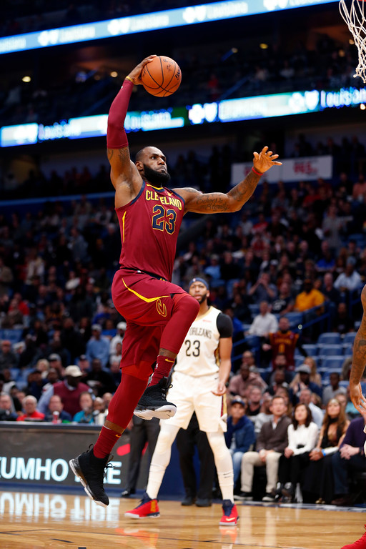 . Cleveland Cavaliers forward LeBron James (23) drives to the basket in the first half of an NBA basketball game against the New Orleans Pelicans in New Orleans, Saturday, Oct. 28, 2017. (AP Photo/Gerald Herbert)