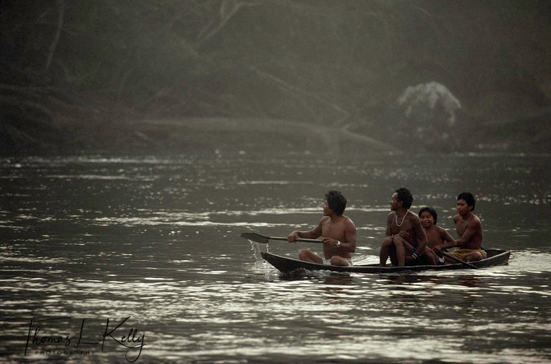 Mukuna people referred to as the Water People paddle the Apaporis River in the Vaupes area.Makuna, Eastern Colombia Amazon, Vaupes region.