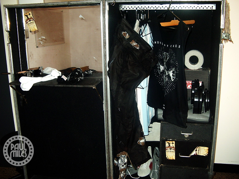 The open wardrobe case of Vince Neil in his dressing room before Motley Crue's show in Tokyo.
