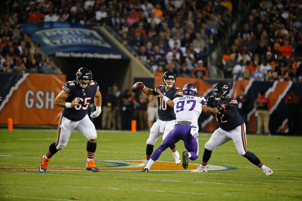 . Chicago Bears quarterback Mitchell Trubisky (10) passes against the Minnesota Vikings during the first half of an NFL football game, Monday, Oct. 9, 2017, in Chicago. (AP Photo/Charles Rex Arbogast)
