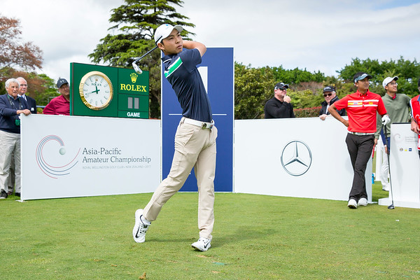 Min Woo Lee from Australia hitting off the 1st tee on Day 1 of competition in the Asia-Pacific Amateur Championship tournament 2017 held at Royal Wellington Golf Club, in Heretaunga, Upper Hutt, New Zealand from 26 - 29 October 2017. Copyright John Mathews 2017.   www.megasportmedia.co.nz