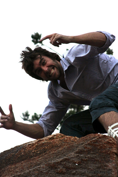 Andy ecstatic after getting up a Magnetic Island V3. Photo by Trent Williams