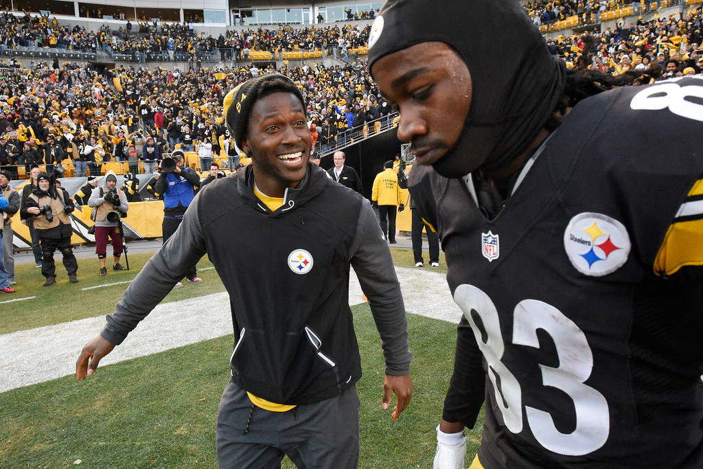 . Pittsburgh Steelers wide receiver Antonio Brown, left, smiles at wide receiver Cobi Hamilton (83) after Hamilton\'s game-winning touchdown catch during overtime of an NFL football game against the Cleveland Browns in Pittsburgh, Sunday, Jan. 1, 2017. The Steelers won 27-24. (AP Photo/Don Wright)