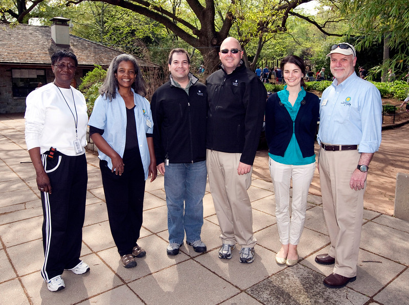 (l to r) Chief of the National Zoo Police; Primates Curator Lisa Stevens; Craig; DJ; Sarah Taylor from the Smithsonian's Office of Public Affairs; and National Zoo Director Dennis Kelly.  Photo by Alex Perry. (4/23/11)