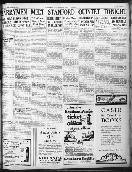 Daily Trojan, Vol. 22, No. 75, January 16, 1931