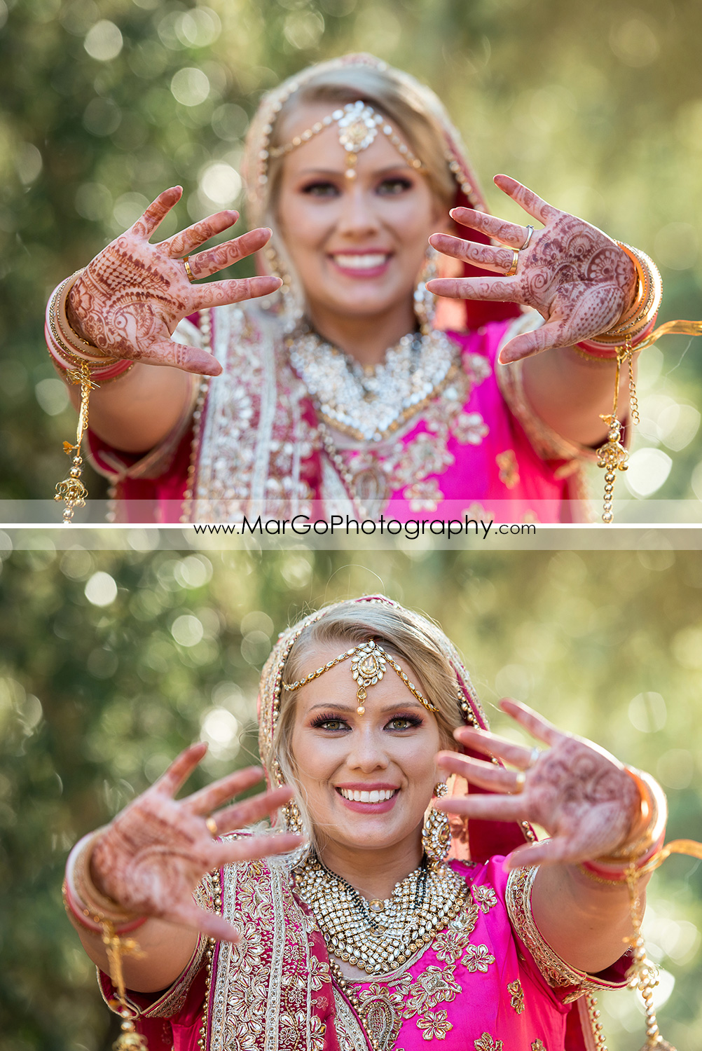 Indian bride showing Mehndi at Elliston Vineyards in Sunol