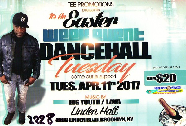 """TEE PROMOTION """"EASTER WEEK DANCEHALL TUESDAY""""(15)"""