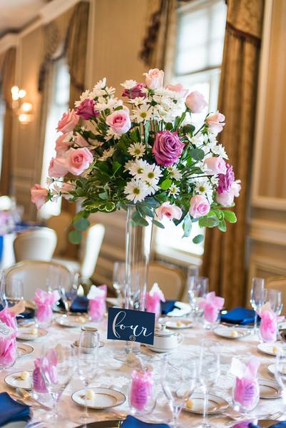 Beautiful tall elegant centerpiece at CCY, macy & tim's wedding.