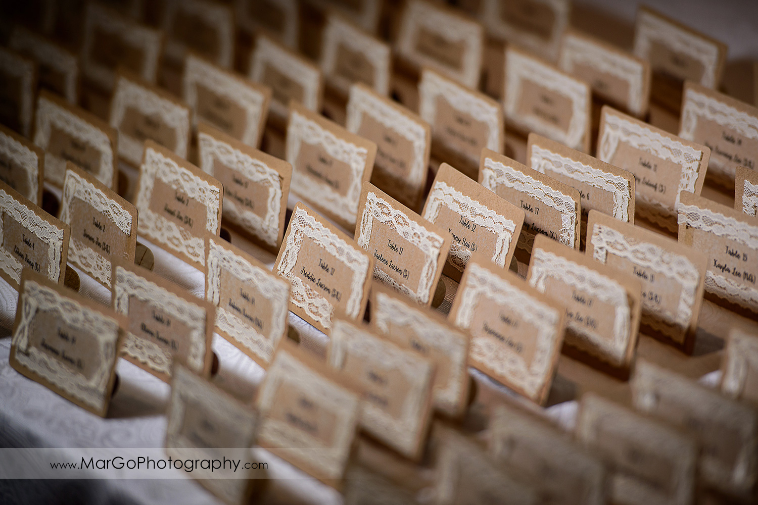 wedding place cards at the Club at Ruby Hill in Pleasanton