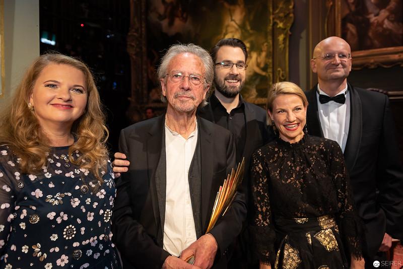 Ulrike Beimpold, ,Peter Handke, Peter Fässlacher, Kristina Sprenger - Nestroy Verleihung 2018