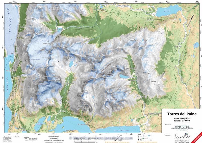 Torres del Paine, Escala 1:50.000, Equidistancia 25m, 1 Ed. Dic. 2006