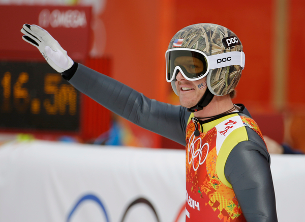 . United States\' Todd Lodwick waves after his attempt during the ski jumping portion of the Nordic combined Gundersen large hill team competition at the 2014 Winter Olympics, Thursday, Feb. 20, 2014, in Krasnaya Polyana, Russia. (AP Photo/Gregorio Borgia)