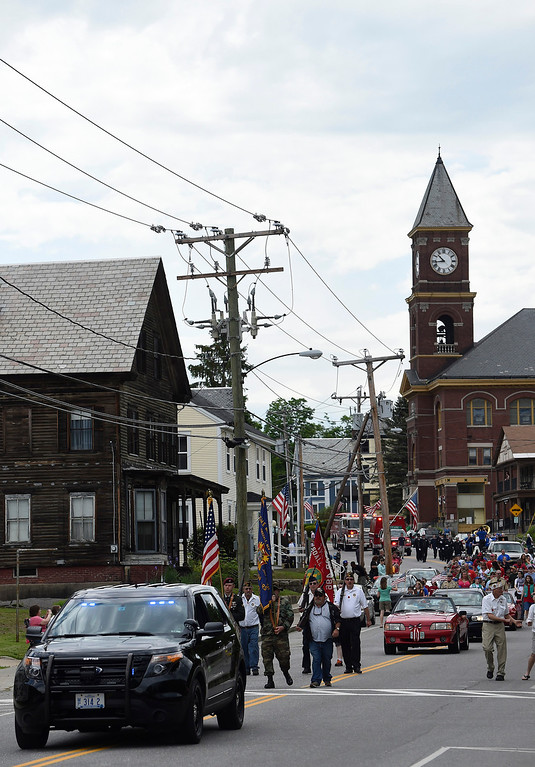 . Kayla Rice/Reformer The Hinsdale Memorial Day parade makes its way down Main St. in Hinsdale, N.H. on Monday morning.