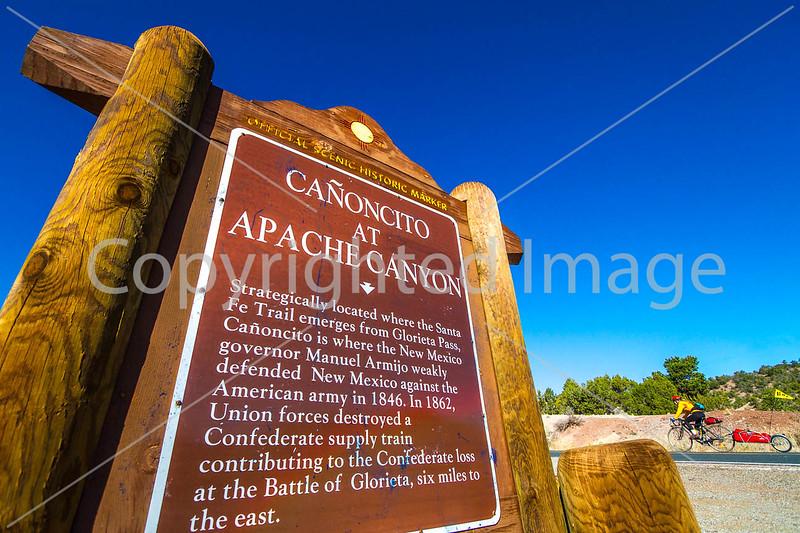 New Mexico - Cyclist on Santa Fe Trail at Glorieta Pass & Apache Canyon