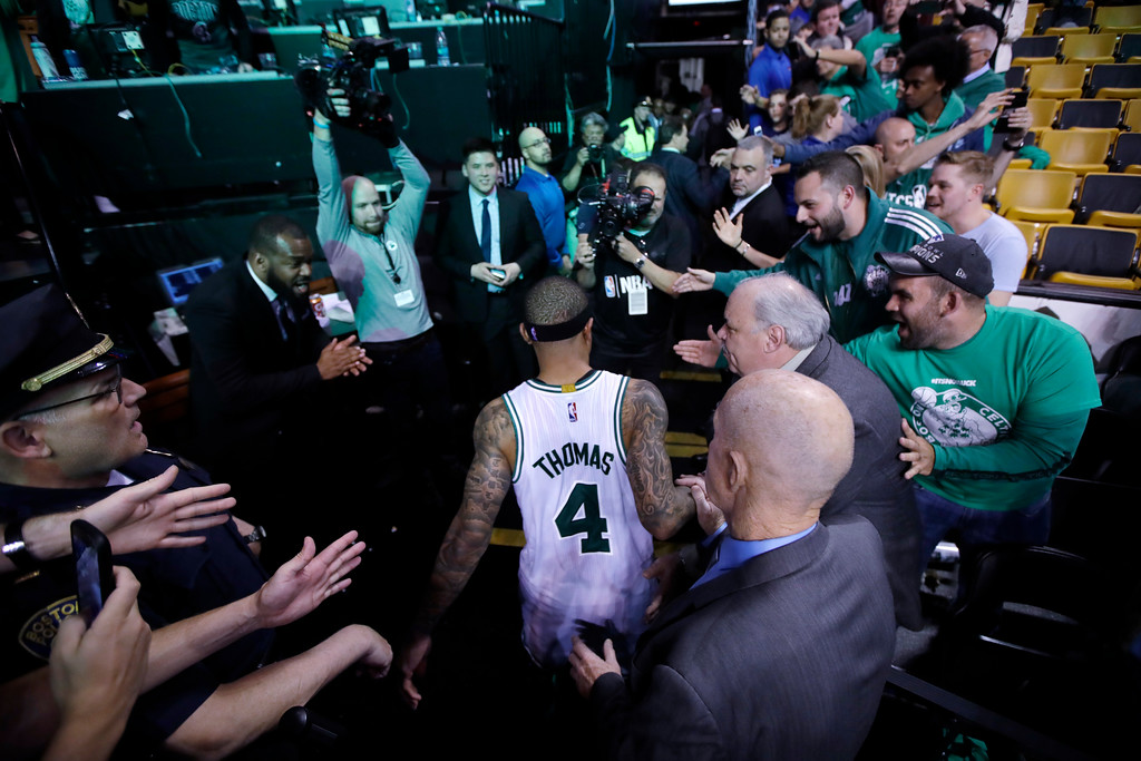 . Boston Celtics guard Isaiah Thomas (4) heads to the locker room after defeating the Washington Wizards in Game 7 of an NBA basketball second-round playoff series Boston, Monday, May 15, 2017. (AP Photo/Charles Krupa)