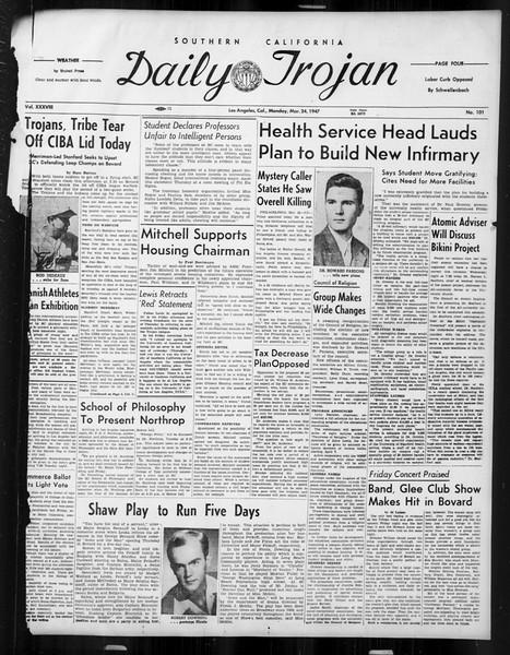 Daily Trojan, Vol. 38, No. 101, March 24, 1947
