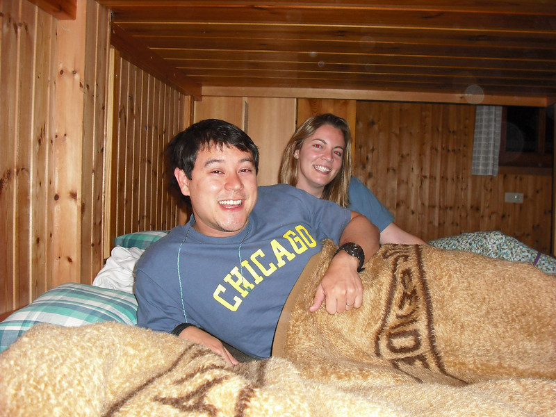 The eight of us shared a row of bunk beds.  I slept between the Attache and Eddie. Sure, Eddie is cute but I still built a wall of dirty laundry between he and I  That's Meredith back there.