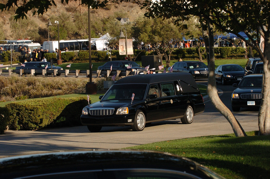 . 6/11/04--Simi Valley-- The hearse carrying the body of President Ronald Reagan arrives during funeral services for the 40th President at the Ronald Reagan Library in Simi Valley, Ca, Friday, June 11, 2004.  (Los Angeles Daily News file photo)