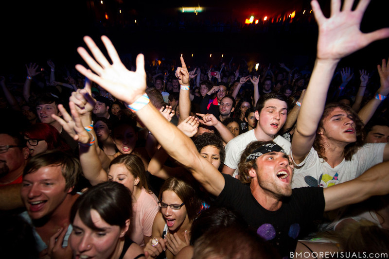 Fans sing along as Sleigh Bells perform for a sold-out crowd at State Theatre in St. Petersburg, Florida on April 29, 2011
