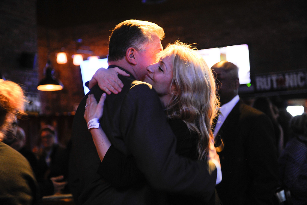. Carmen Trutanich hugs his daughter Kim Klimas at his campaign party, at Rocco\'s Tavern in Studio City, Tuesday, March 5, 2013. (Michael Owen Baker/Staff Photographer)